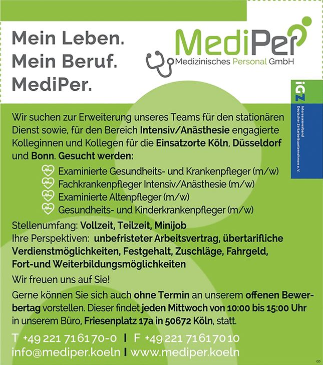 Stellenbezeichnung: Examinierte Gesundheits- und Krankenpfleger m/w Fachkrankenpfleger Intensiv / Anästhesie m/w Examinierte Altenpfleger m/w Gesundheits- und Kinderkrankenpfleger m/w Vollzeit, Teilzeit oder Minijob-Basis  Arbeitsort: 50672, Köln Nordrhein-Westfalen Deutschland  Weitere Informationen unter: http://stellencompass.de/anzeige/139480/