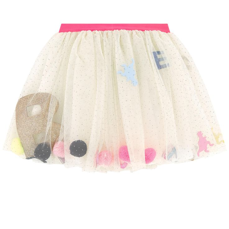 Synthetic tulle Percale lining Playful item Flared skirt Loose fit Gathered waistband Elastic waistband Contrast belt Fancy bobbles Fancy sequins Fancy letters Comes with a small gift - $ 114