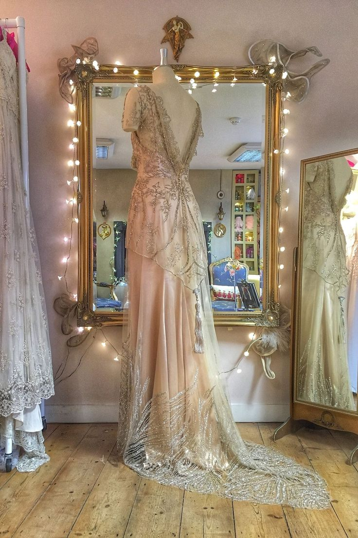 Joanne Fleming Design | BlogBeaded Tulle Couture Wedding Dress in pale gold and antique silver