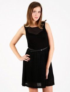 Black flare dress with pleated lace skirt