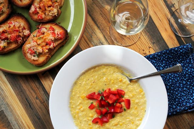 Sweet Love and Ginger: Clean Corn Chowder with Crab & Red Pepper Crostini