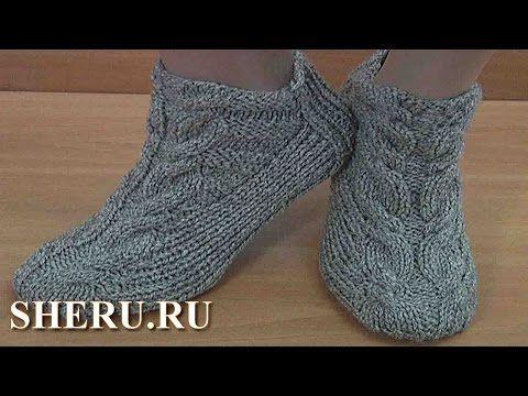 Теплые носки спицами без швов Урок 150 - YouTube