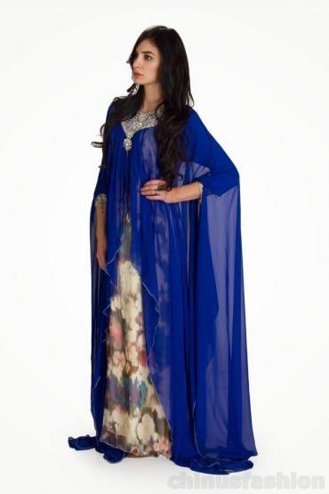Mahabbah Royal Blue Printed Gown Style Kaftan