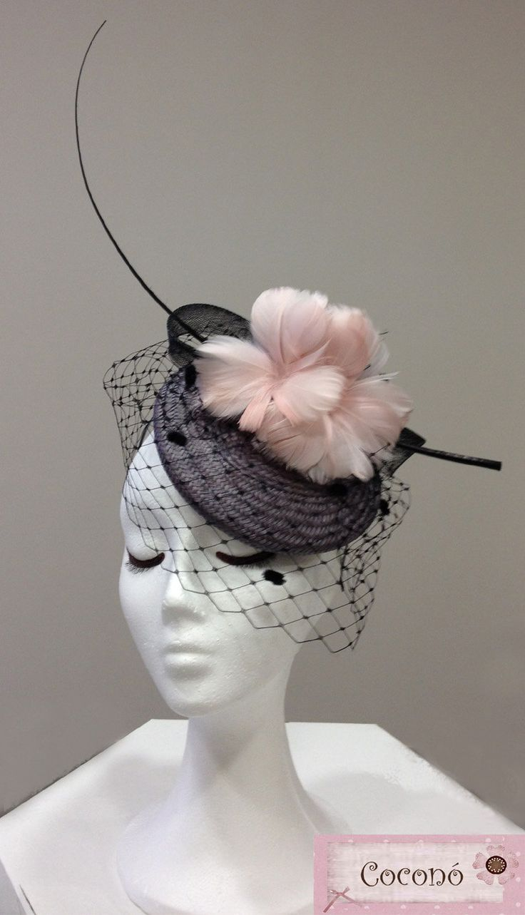Pink and grey straw beret - pink and grey fascinator hat for woman - cocktail straw hat for woman. €100.00, via Etsy.