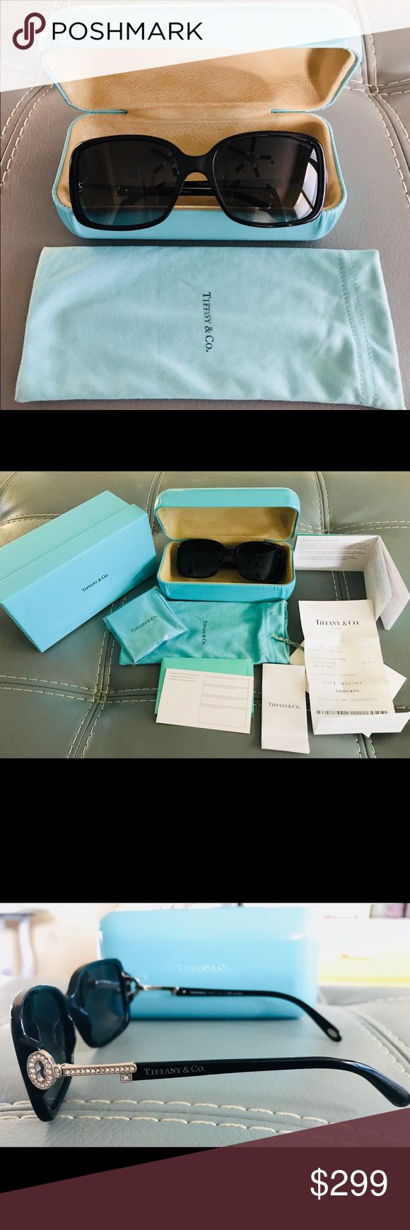 Tiffany & Co Woman's Sunglasses In like new condition. Only used a few times. TF4043-B 8001/T3 Black Polarized Tiffany & Co Key Black Sunglasses. Original box and case, includes certificate of authenticity and receipt for Lifetime warranty. Tiffany & Co. Accessories Sunglasses