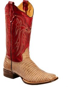 Roper Lizzy Faux Teju Lizard Cowgirl Boots - Square Toe, Tan
