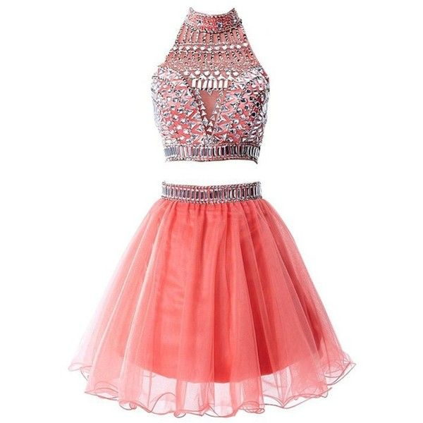 R&J Women's Two Pieces Halter Coral Homecoming Rhinestones Short... ($120) ❤ liked on Polyvore featuring dresses, prom dresses, 2 piece homecoming dresses, short homecoming dresses, short red dress and red dress