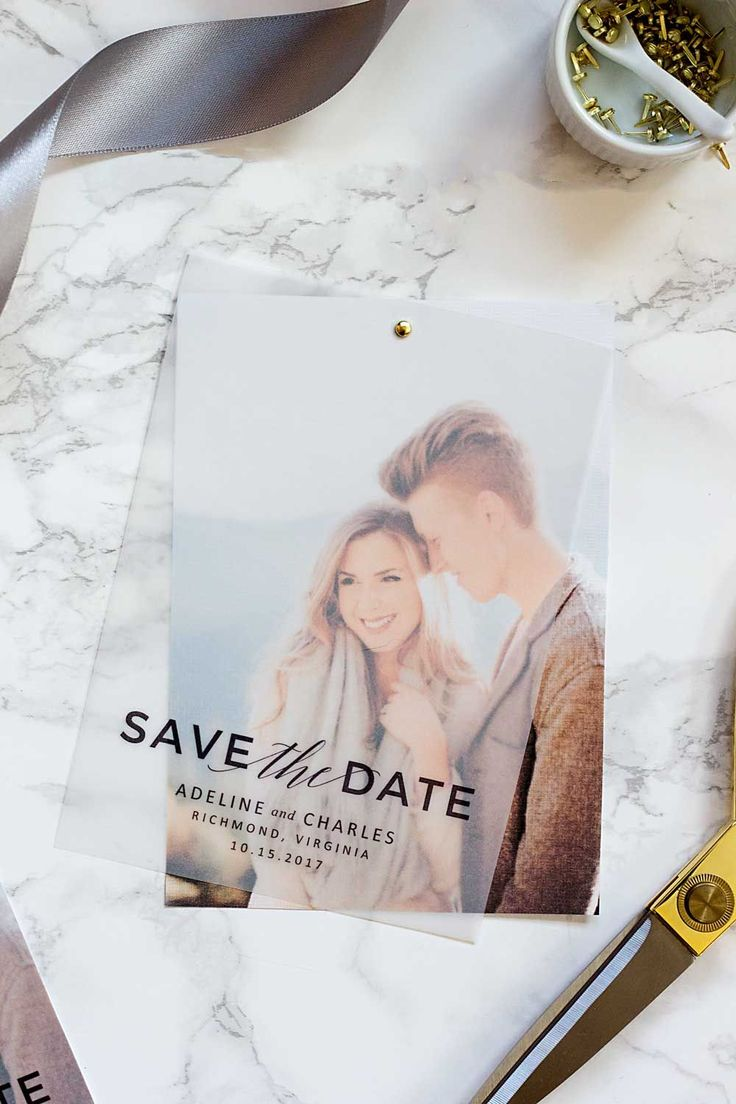 Make these gorgeous layered save the dates with nothing more than vellum and some bargain cardstcok. We'll also give you a free save the date template!