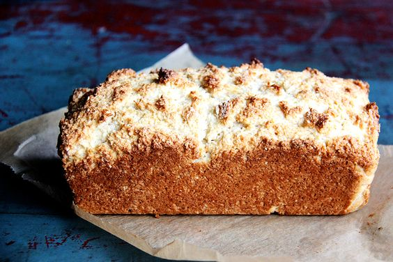 Coconut Quick Bread, Recipe on Food52 Produce- 1Lime, Zest,   2 Eggs /Baking & Spices 2 tsp	Baking powder 2 1/2 cups	Flour 3/4 tsp	Kosher salt 1 cup	Sugar 1 tsp	Vanilla extract Nuts & Seeds 5 oz	Coconut, unsweetened Dairy  6 tbsp Butter, unsalted 1 1/4 cups	Milk