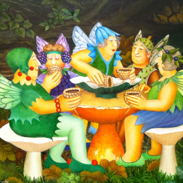 Beryl Cook's wry look at a fairies garden party!