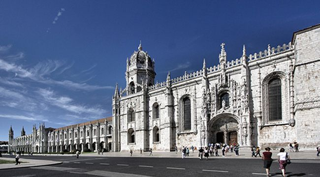 Monastery of Jerónimos.  10E or free with Lisboa Card 10am - 5pm City bus lines: 727, 28, 729, 714 and 751 Tram: 15 Suburban train: Belém station Ferry: Belém Ferry station