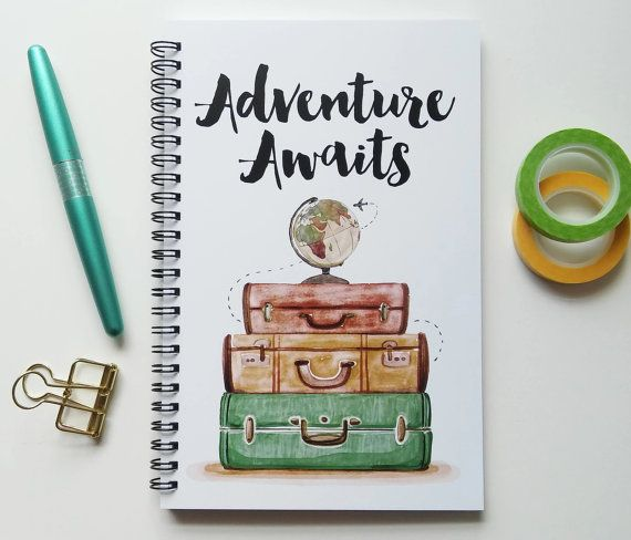 Writing journal, spiral notebook, bullet journal, cute journal, blue sketchbook, travel journal, blank lined grid - Adventure awaits