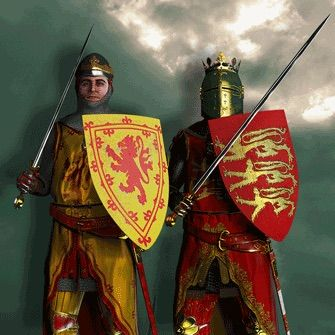 Robert the Bruce, King of Scotland, threw off English dominion in Scotland during Edward II's reign. Edward invaded Scotland in 1314 but his army, which outnumbered the Scottish three to one were defeated in the battle of Bannockburn on June 25. Edward was forced to flee back to England and humiliated. His army tried to flee too, but many of them were killed by Scottish spearmen or even the Scots locals. Robert Bruce was King of Scotland.