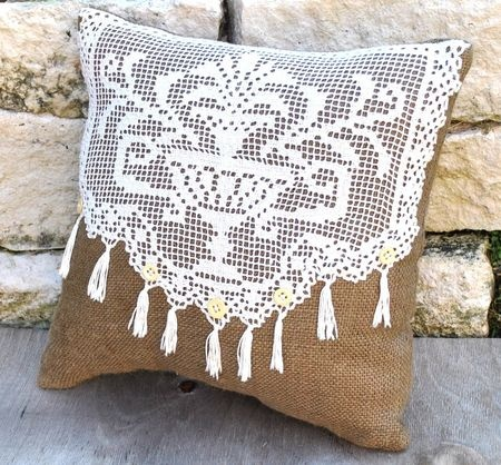 Burlap and lace pillow