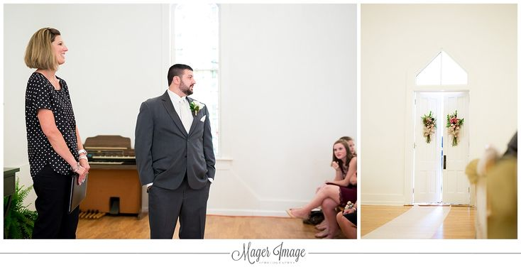 groom ready anxious looking church chapel door white aisle | MAGER IMAGE PHOTOGRAPHY | www.magerimageblog.com | Instagram @magerimagephotography
