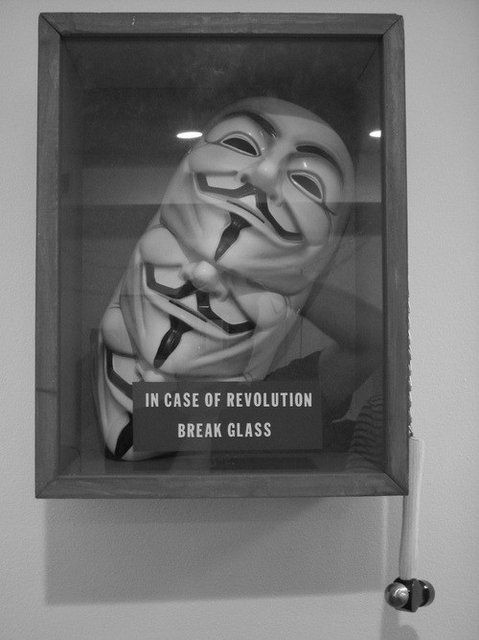 Fancy - V for Vendetta Masks in glass case