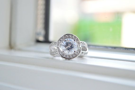 2.5ct+Sterling+Silver+Engagement+Ring+by+barargent+on+Etsy,+$56.00