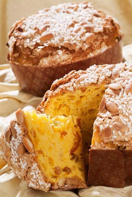 Traditional Italian Christmas panettone with candied fruit and raisins.