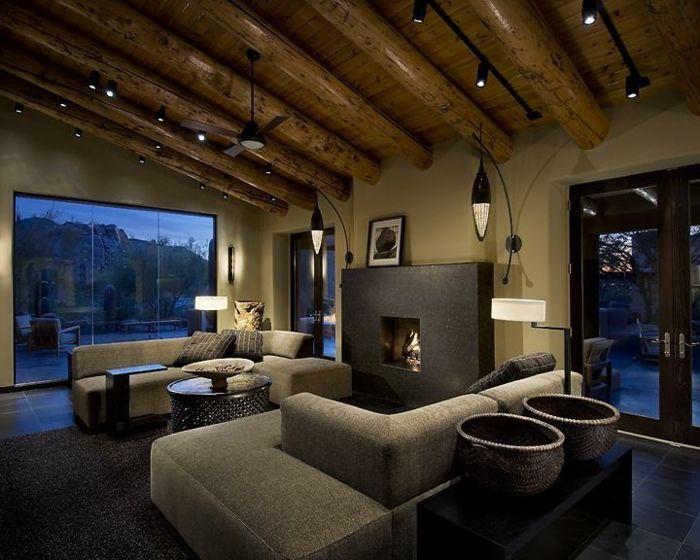 Einmalige Indirekte Beleuchtung Wand   Graue Sofas Im Wohnzimmer