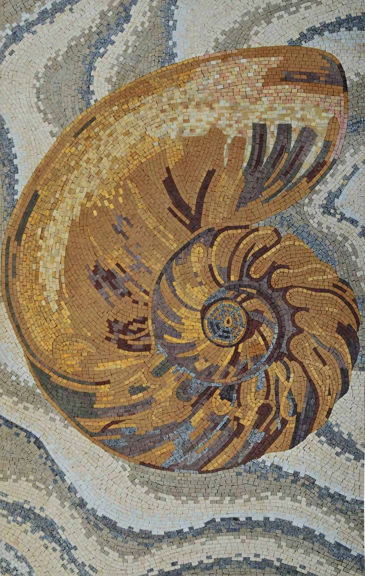 Mosaic Artwork - The Golden Shell - Handmade Mosaic Art - Mosaic Designs - Mosaic Patterns - Mosaic Mural | #Mozaico