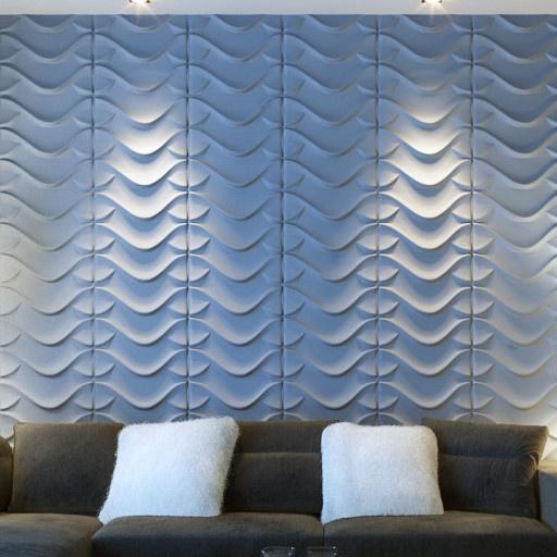 Panel Tridimensional Enric - La gama de colores que van del blanco, gris azulado al gris oxford dan una armonía completa.