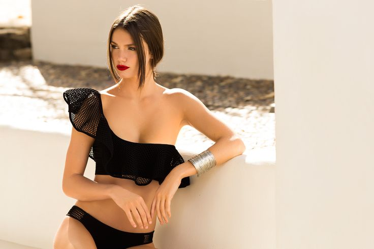 Black One Shoulder Mesh Bikini / Shop Online at www.touche.com.co / Touche Swimwear Collection / Summer / Hailey Outland