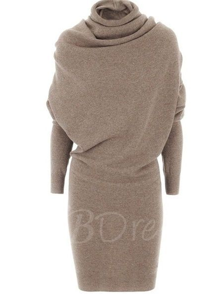 Tbdress.com offers high quality Pure Color Turtleneck Long Sleeve Women's Sweater Dress Sweater Dresses unit price of $ 28.99.