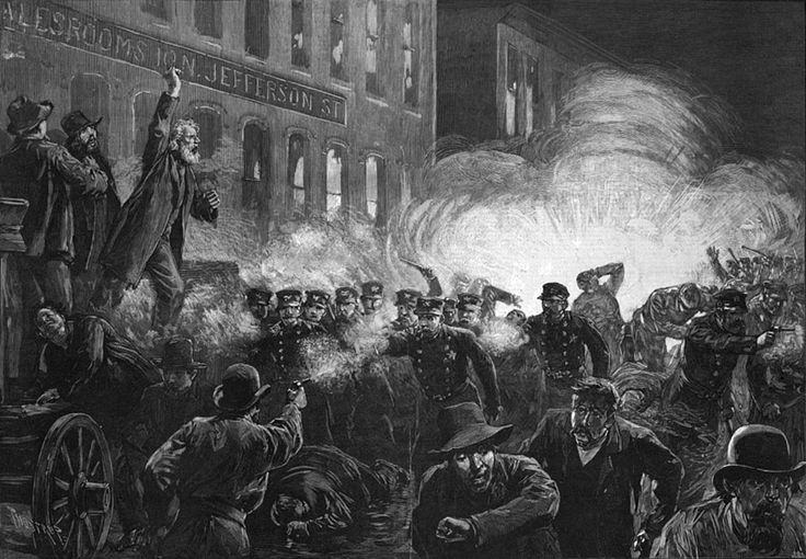 The Haymarket affair (also known as the Haymarket massacre or Haymarket riot) was the aftermath of a bombing that took place at a labor demonstration on Tuesday May 4, 1886, at Haymarket Square in Chicago. It began as a peaceful rally in support of workers striking for an eight-hour day and in reaction to the killing of several workers the previous day by the police. An unknown person threw a dynamite bomb at police as they acted to disperse the public meeting.
