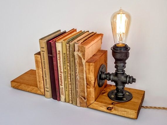 Bookends lamp  Lighting  Edison lamp  Table by SilverBeardLampCo