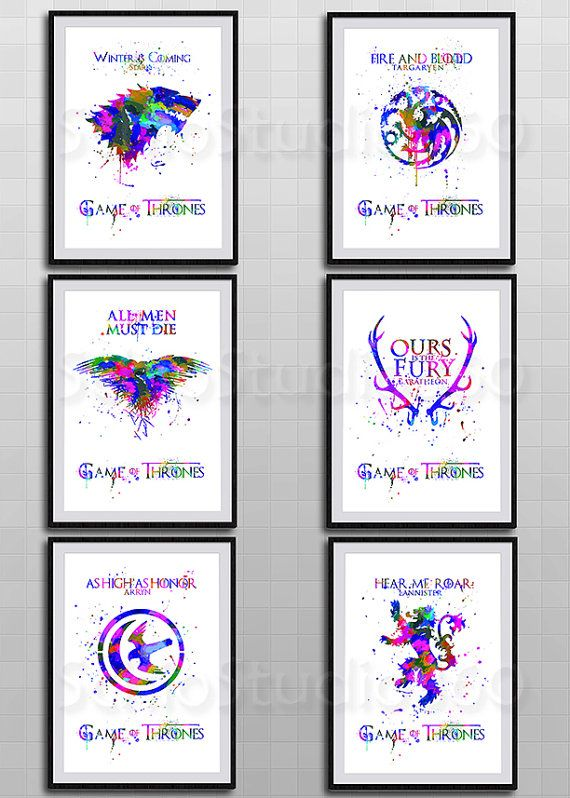 Set of 6 Game of Thrones Posters - House Stark, Targaryen, Eagle, Baratheon,Arryn and House LANNESTER Watercolor Art Print Home Decor