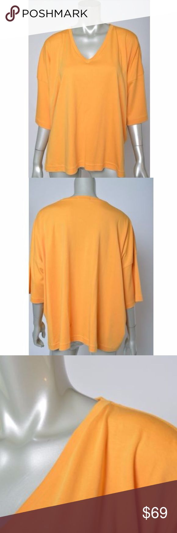 Eskander Orange Knit V Neck Batwing Shirt Top OS Total length is 27 inches Bust is 62 inches, unstretched One Size Excellent condition Eskander Tops