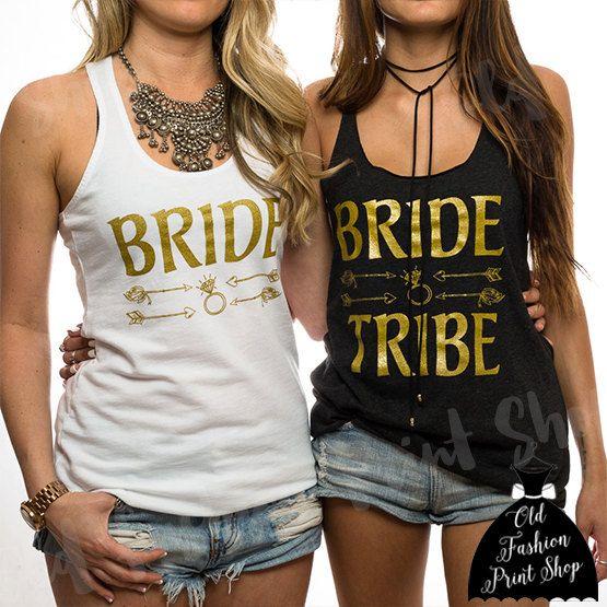 I love the tribal arrows!!  Bride Tribe Tank. Bride Tribe Tank Tops. Bride Tribe. Bachelorette Party. 19.99 by OldFashionPrintShop www.etsy.com/shop/oldfashionprintshop