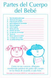 Juego de Baby Shower: Partes del cuerpo del bebe | Manualidades para Baby Shower