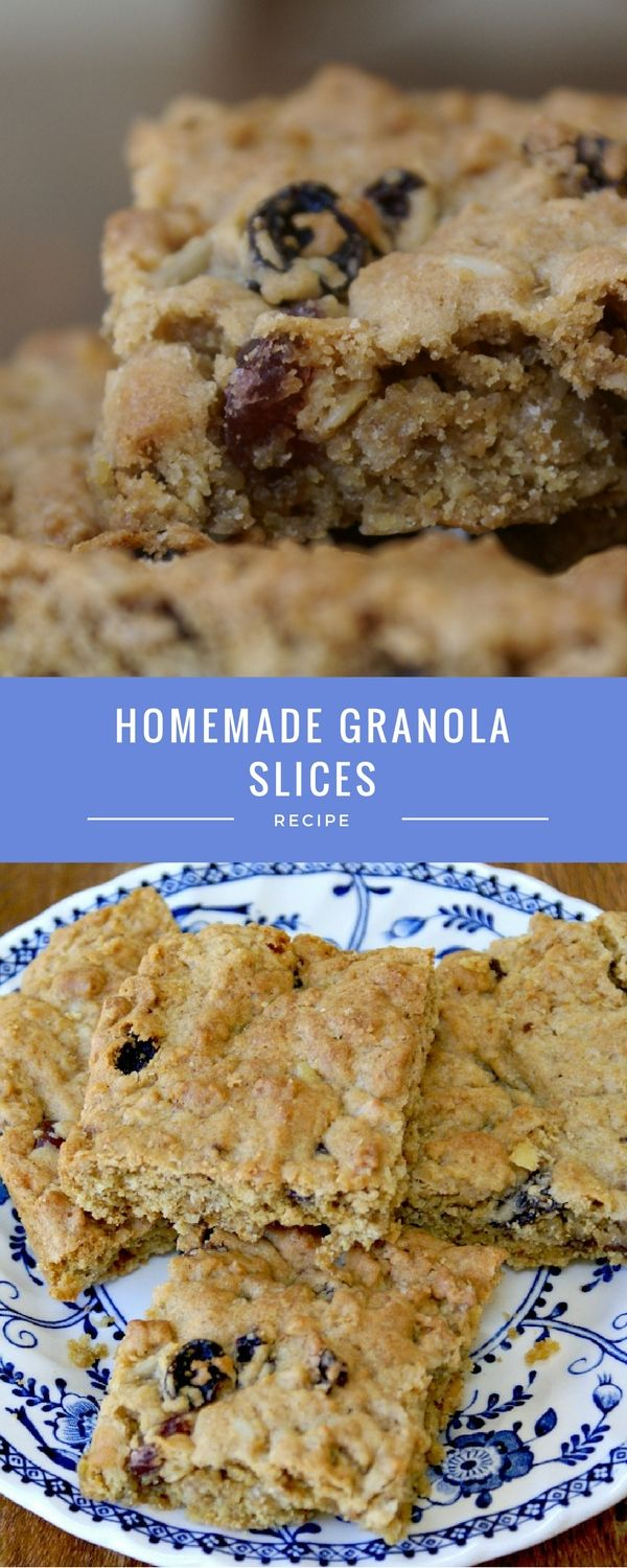 Homemade soft and chewy granola bars slices. Perfect teatime treat and one that the children can cook too. Perfect for lunch boxes.
