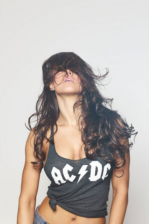 Rocker chick hair.   Wardrobe can't have brand names on them. Posing