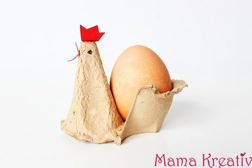 Eierbecher-Huhn basteln