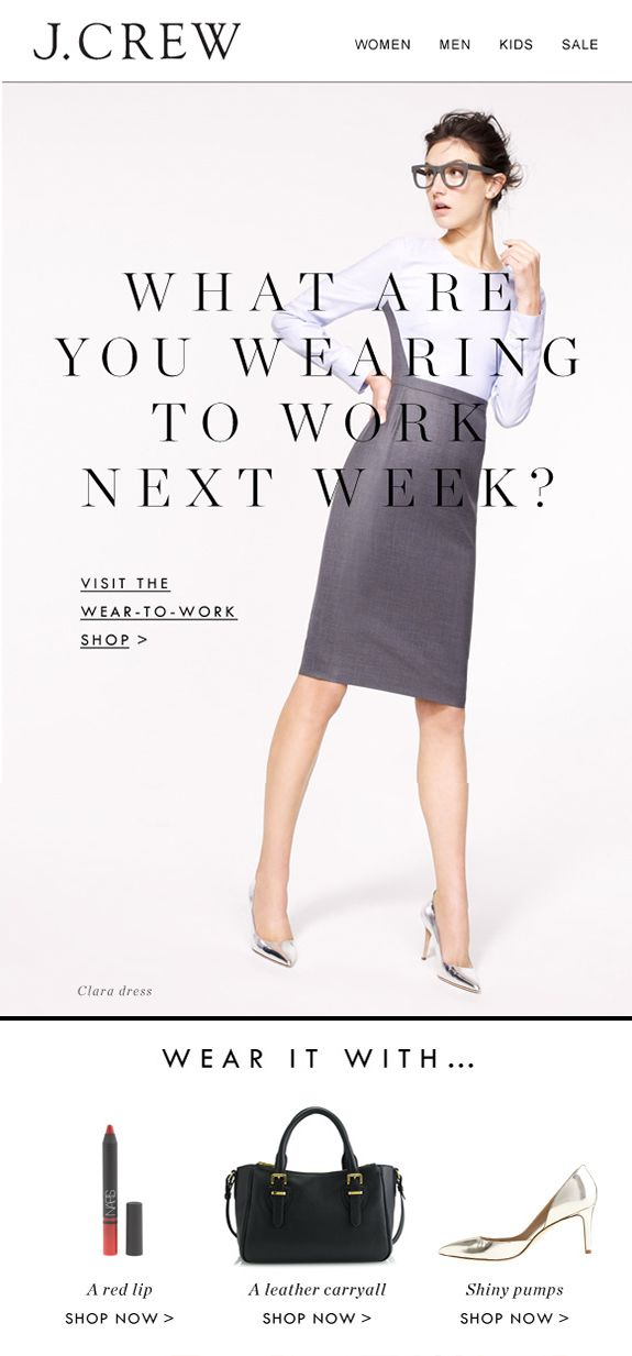 jcrew email marketing design - work wear email