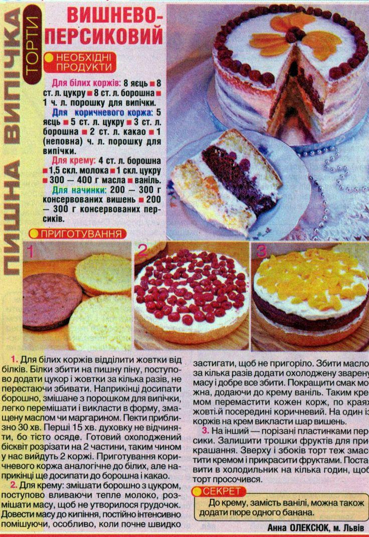 Пляцок вишнево-персиковий від Анни Олексюк Рецепти господині 2014/5