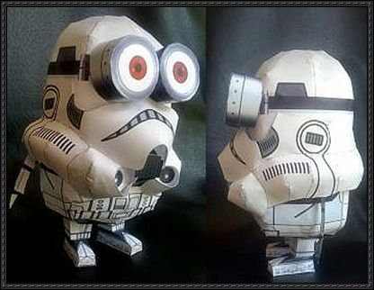 Star Wars & Despicable Me - Stormtrooper Minion Free Papercraft Download - http://www.papercraftsquare.com/star-wars-despicable-stormtrooper-minion-free-papercraft-download.html