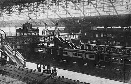 Birmingham New Street Station with some 6-wheeled LNWR coaching stock.