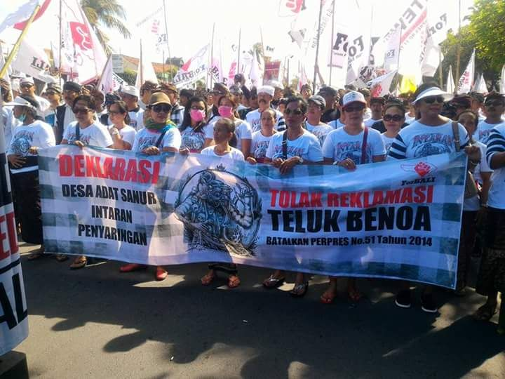 Demonstrators Take to the Streets of Sanur for What is Becoming Weekly Protests Against Plans to Reclaim Bali's Benoa Bay - Tolak Reklamasi!