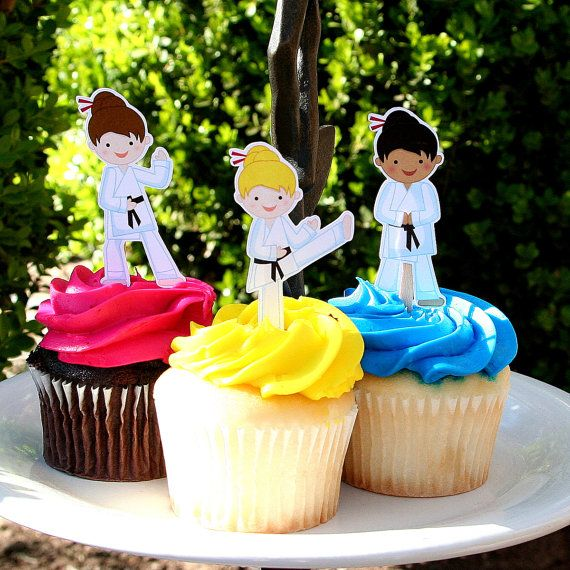 Karate Girl Martial Arts Party Cupcake Toppers Set of 12