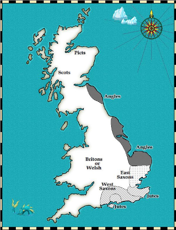 England, Scotland and Wales in 550 This map shows how Britain was organised in around 550 AD.
