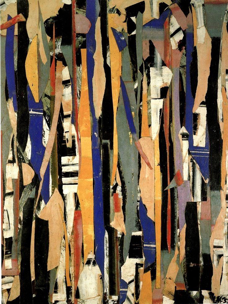 Lee Krasner ~ City Verticals, 1953 (oil, paper, collage) - fascinating shapes and lovely colors - #dansisken