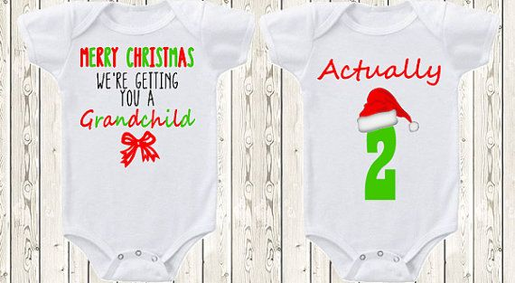 Twin Christmas Pregnancy announcement idea for grandparents / parents ONESIE ® brand bodysuit  Twin baby announcement Christmas present