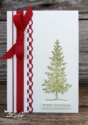 Stampin' Up - Lovely as a Tree, love the red and wht scallops!