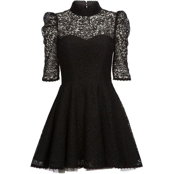 Mairi McDonald - Joplin Lace Dress ($1,155) ❤ liked on Polyvore featuring dresses, vestidos, short dresses, black, black dress, circle skirt, black skater skirt, black mini dress and black collared dress