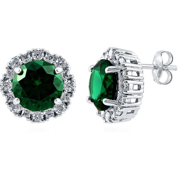 BERRICLE Sterling Silver Round Simulated Emerald CZ Halo Fashion Stud... ($75) ❤ liked on Polyvore featuring jewelry, earrings, emerald, stud earrings, women's accessories, sterling silver stud earring set, cubic zirconia stud earrings, stud earring set and clear stud earrings