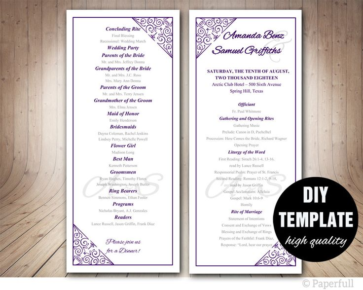 Clic Wedding Program Template Purple Aubergine Modern