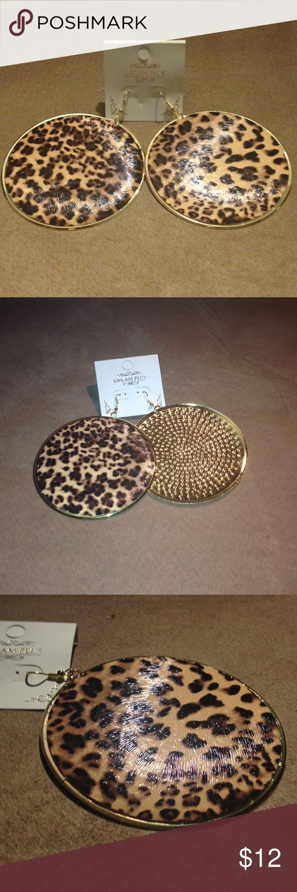👯Exotic Animal Print Earrings👯 These are absolutely amazing! NWT!! Perfect accessory. Gold with textured animal print. They demand attention. Jewelry Earrings